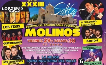 Este fin de semana se presenta el 33° Festival del Poncho Doma y Folklore en Molino Salta