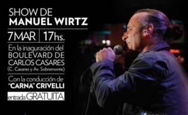 Show gratuito de Manuel Wirtz en la inauguración del Boulevard de Carlos Casares