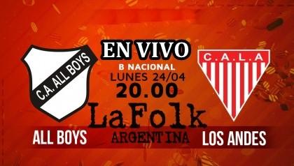 All Boys recibirá a Los Andes este lunes en el Estadio Islas Malvinas 19.45 hs en VIVO por La Folk Argentina