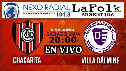 En vivo Chacarita vs Villa Dálmine por el Nacional B 2016/17 por NEXO 104.9 Fm y La Folk Argentina