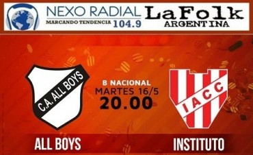 All Boys vs Instituto B Nacional Hoy, 20:00 Estadio Islas Malvinas en VIVO por NEXO 104.9 Fm y La Folk Argentina