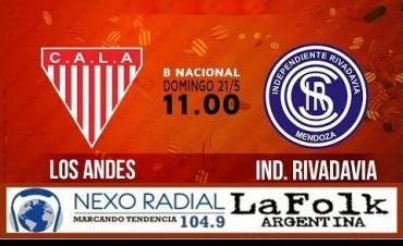 Primera B Nacional: Los Andes vs Independiente Rivadavia EN VIVO por NEXO 104.9 Fm y La Folk Argentina