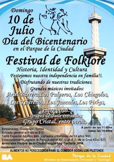 Festival de Folklore en el Parque de la Ciudad con motivo de los festejos por el Bicentenario