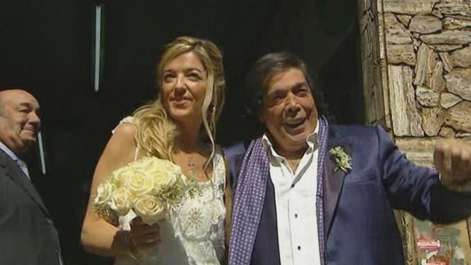 Cacho Castaña se casó a  los 74 con su novia 34 años más joven