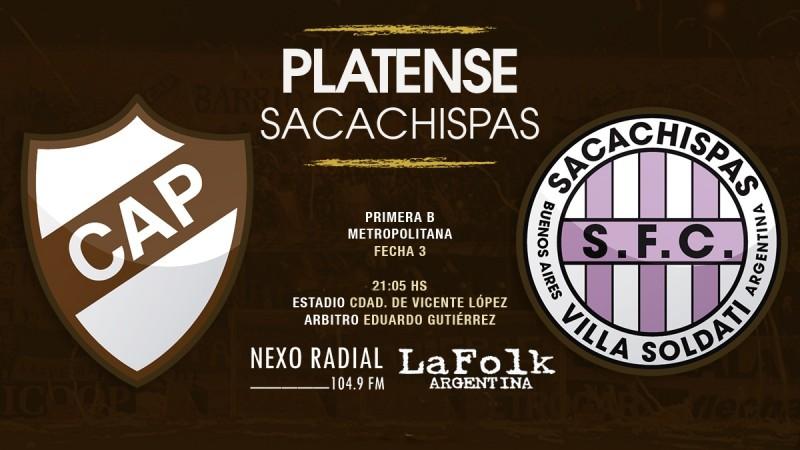 Platense recibirá a Sacachispas desde las 21:00 horas en VIVO por NEXO 104.9 Fm y La Folk Argentina