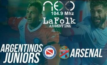 Argentinos-Arsenal Superliga Argentina 21Hs en VIVO por NEXO 104.9 Mhz y La Folk Argentina