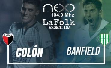 Banfield vs Colón - Superliga 2017-2018 -19 Hs en VIVO por NEXO 104.9 Mhz y La Folk Argentina