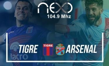 Tigre vs Arsenal estadio Julio Humberto Grondona este Lunes 17 Hs en VIVO por NEXO 104.9 Mhz