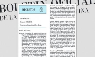 Copartisación: El Gobierno cesa la detracción del 15% a todas las provincias